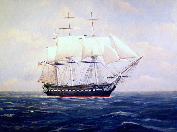 Ships Painting - Uss Constitution by William H RaVell III