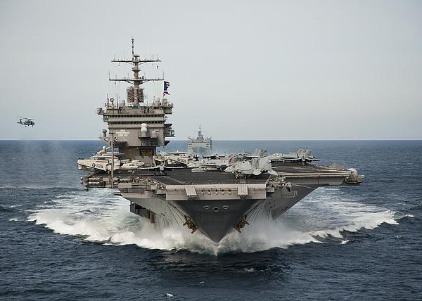 Uss Enterprise Photograph - Uss Enterprise Transits The Atlantic by Stocktrek Images
