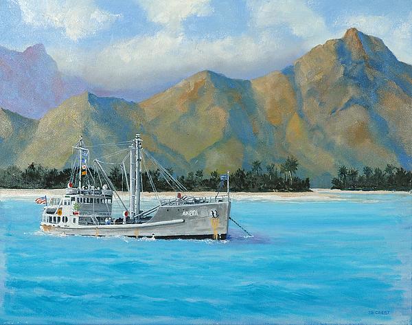 Seascape Painting - Uss Reluctant Anchored Off Ennui by Glenn Secrest