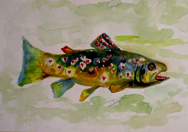 Trout Painting - Valentine Trout by Delilah  Smith