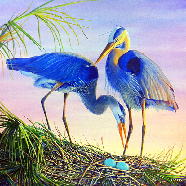 Great Blue Herons Painting - Valentines Eggs by AnnaJo Vahle