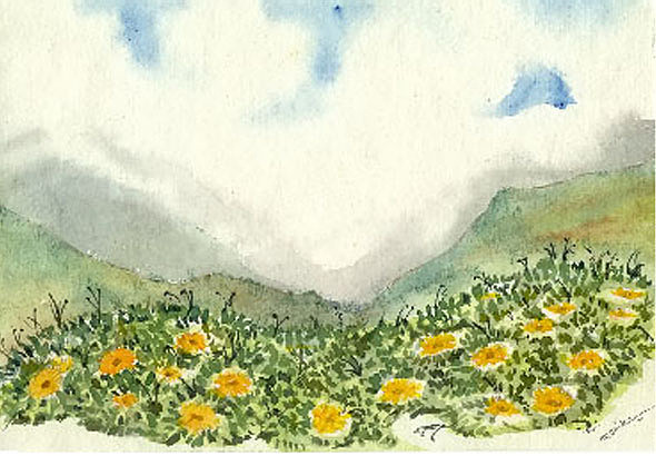 Landscape Painting - Valley Of Flowers by Monika Deo