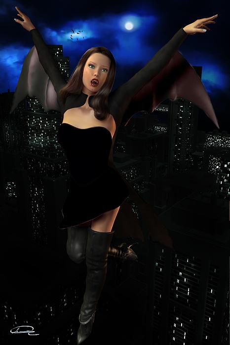 Vampire Painting - Vampiress In The Metropolis by Emma Alvarez