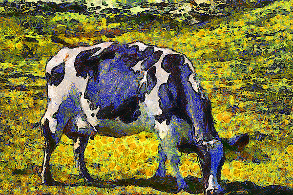 Landscape Photograph - Van Gogh.s Starry Blue Cow . 7d16140 by Wingsdomain Art and Photography
