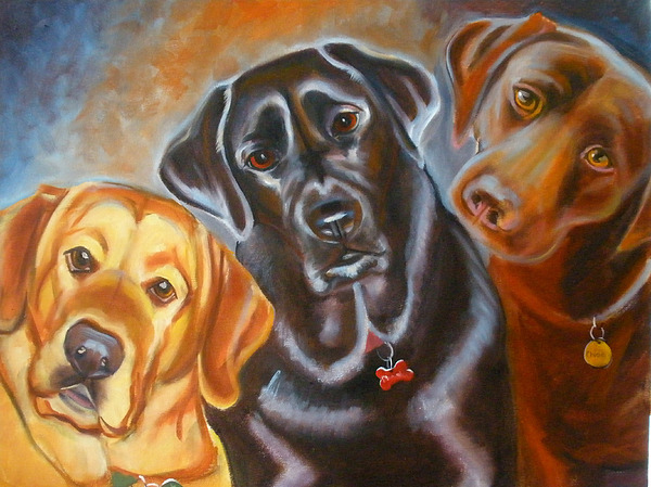 Yellow Lab Painting - Vanilla Charcol And Chocolate by Kaytee Esser