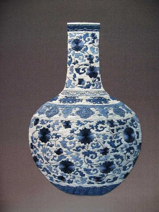 Handmade Silk Embroidery Tapestry - Textile - Vase-6 by Xiaohuan Sheng