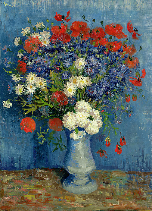 Still Painting - Vase With Cornflowers And Poppies by Vincent Van Gogh