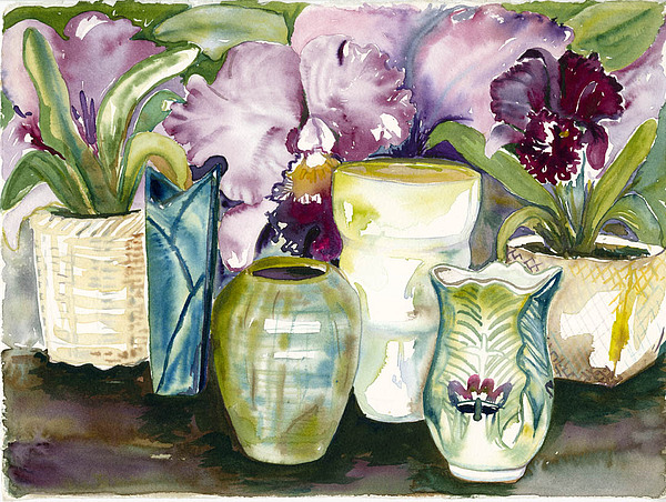 Vases Of Flowers Painting by Ileana Carreno