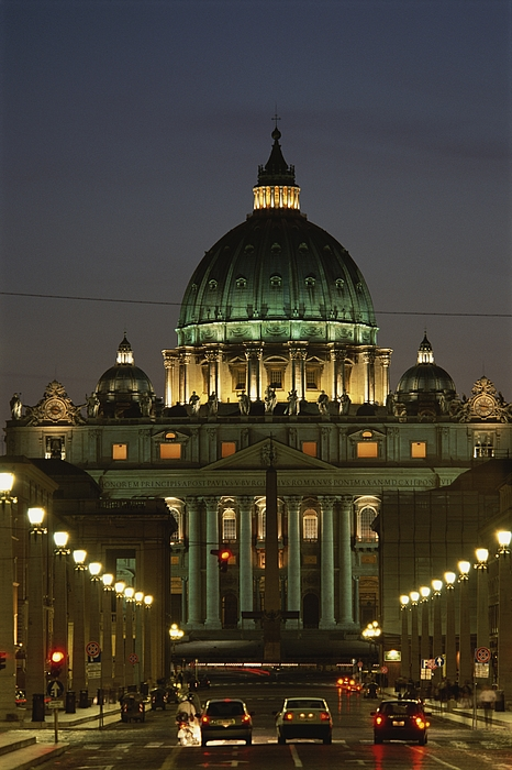 Europe Photograph - Vatican, Rome, Italy.  Night View by Richard Nowitz