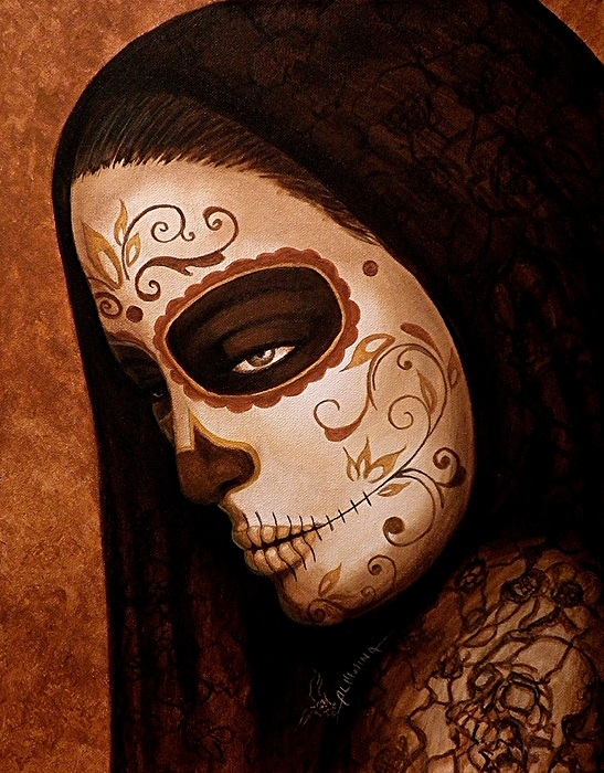 Day Of The Dead Painting - Velo De La Tristeza by Al  Molina