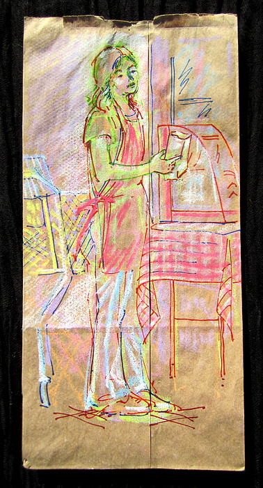 Figure Mixed Media - Vendor by Radical Reconstruction Fine Art Featuring Nancy Wood