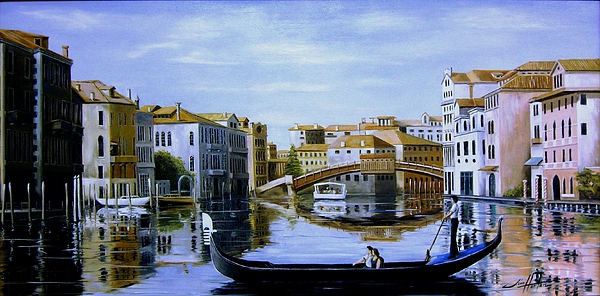 Venice Painting - Venice Canal Ride by Jim Horton