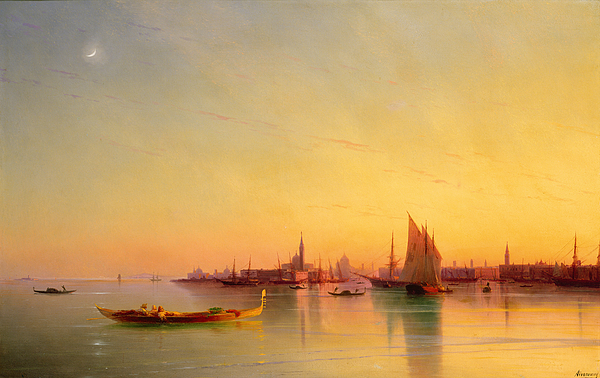 Boat Painting - Venice From The Lagoon At Sunset by Ivan Konstantinovich Aivazovsky