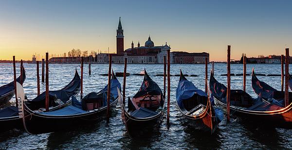 Italy Photograph - Venice Sunrise With Gondolas by Evgeni Dinev