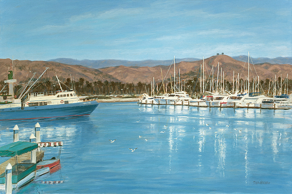 Harbor Painting - Ventura Harbor And The Two Trees by Tina Obrien