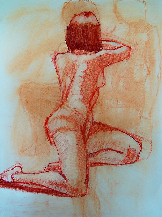 Figure Study Drawing - Versions Of Self by Charles Peck