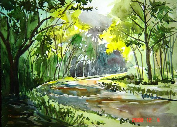 Watercolor Landscape Painting - Versity Walk by Prafulla Shukla