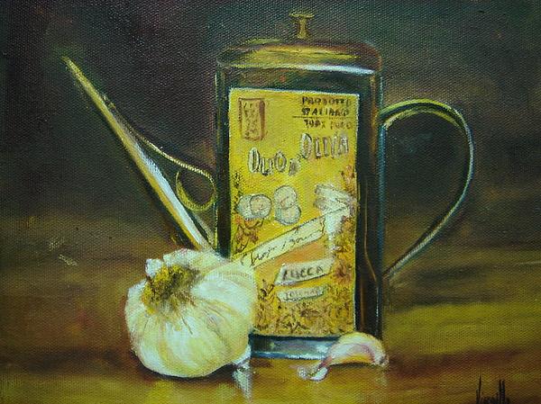 Still Life Paintings Painting - Vibrant Still Life Paintings - Olive Oil With Garlic - Virgilla Art by Virgilla Lammons