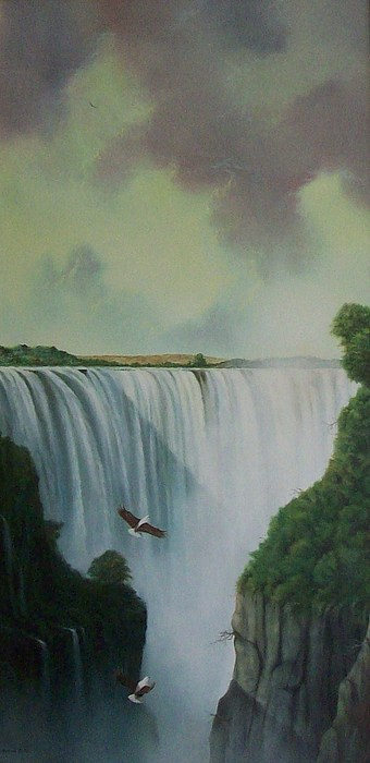 Water Painting - Victoria Falls by Don Griffiths