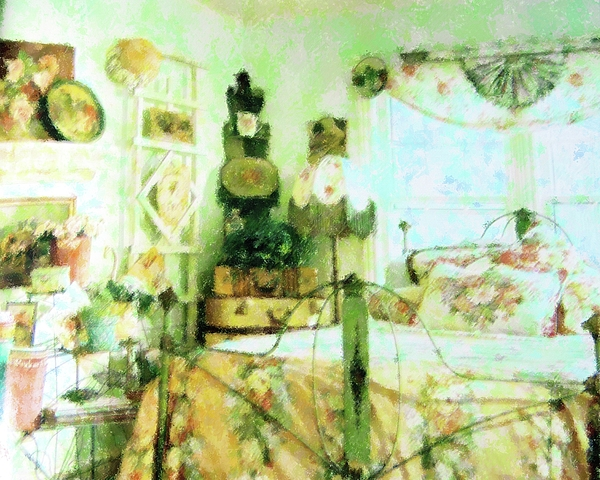Vintage Mixed Media - Victorian Bedroom by Florene Welebny