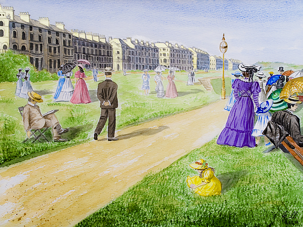 Village Painting - Victorian Filey by Svetlana Sewell