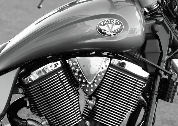 Black And White Photograph - Victory Motorcycle Virginia City Nv by Troy Montemayor
