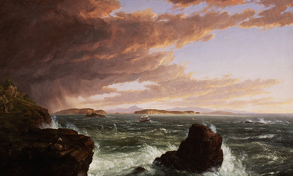 Stormy Weather Painting - View Across Frenchmans Bay From Mt. Desert Island After A Squall by Thomas Cole
