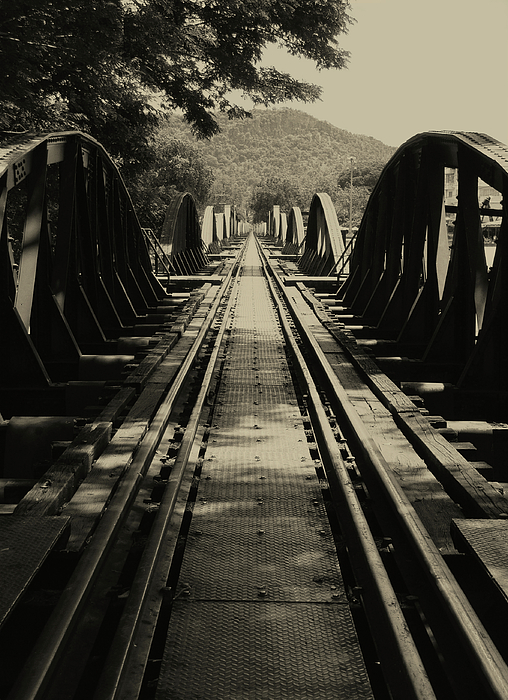 Black & White Photograph - View From A Bridge - River Kwai by Kelly Jones