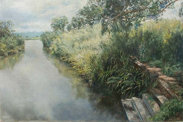 Landscape Painting - View From Bridge by Ifthikar Cader