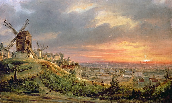 Landscape Painting - View Of The Butte Montmartre by Louis Jacques Mande Daguerre