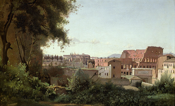 View Painting - View Of The Colosseum From The Farnese Gardens by Jean Baptiste Camille Corot