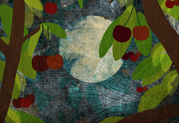 Horizontal Digital Art - View Of The Moon And Cherries Growing On Trees At Night by Jutta Kuss