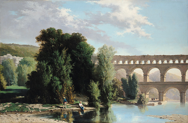 View Painting - View Of The Pont Du Gard by Henri Marie Poinsot