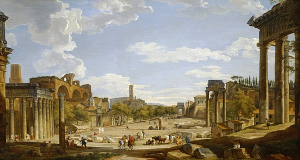 View Painting - View Of The Roman Forum by Giovanni Paolo Panini