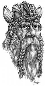 Viking Drawing - Viking Dragon Lord by Don Higgins