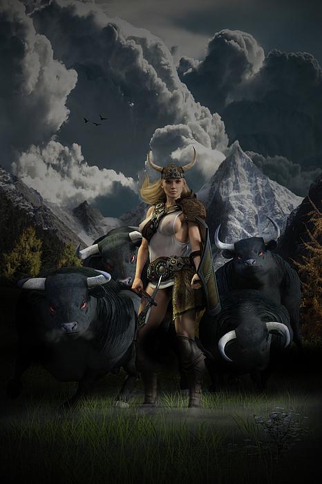 Norse Digital Art - Viking Gefjon by Andy Renard