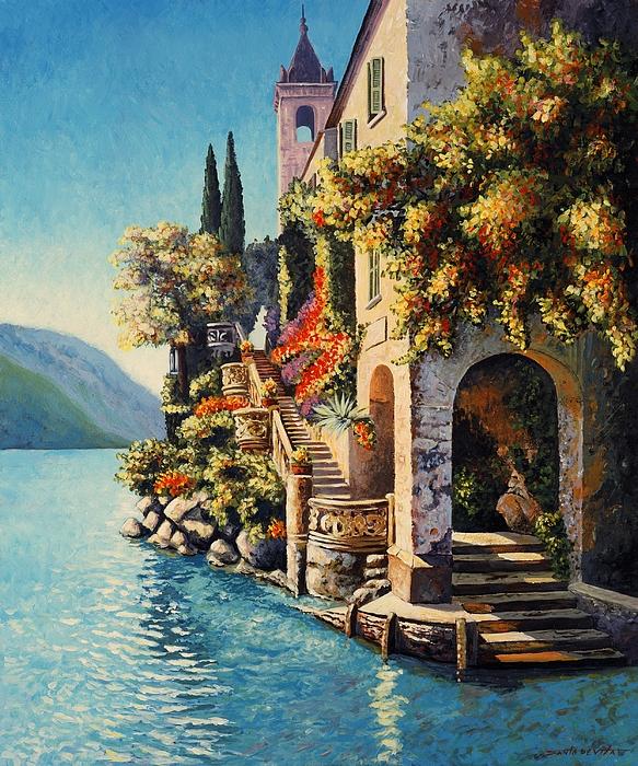 Impressionism Landscape Painting - Villa Balbianello Lake Como by Santo De Vita