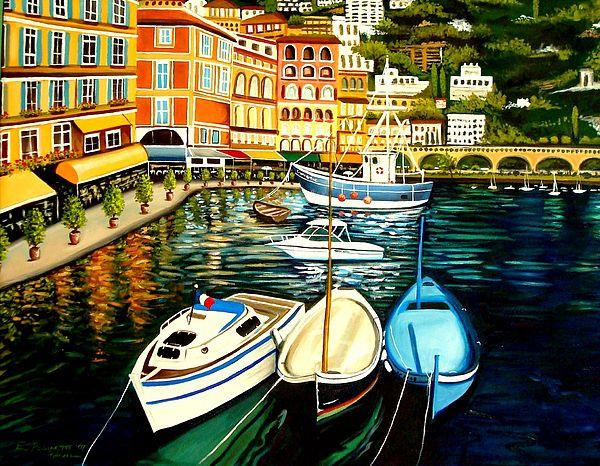 Landscape Painting - Villa Franche by Elizabeth Robinette Tyndall