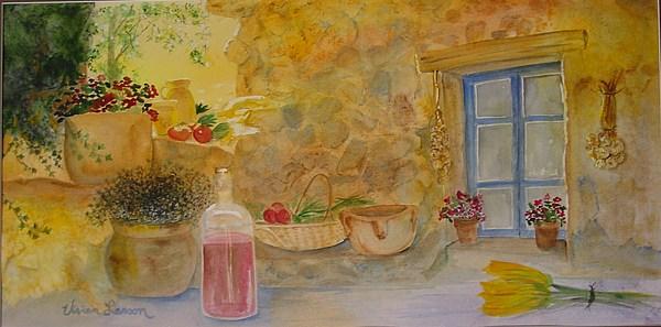 Italy Painting - Villa With Still Life by Vivian Larson
