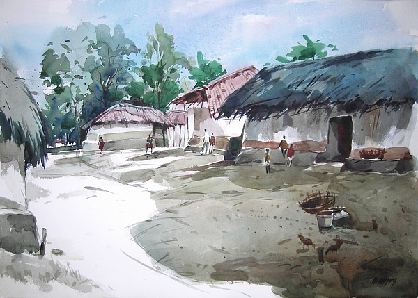 Landscape Painting - Village by Alaykumar Ghoshal