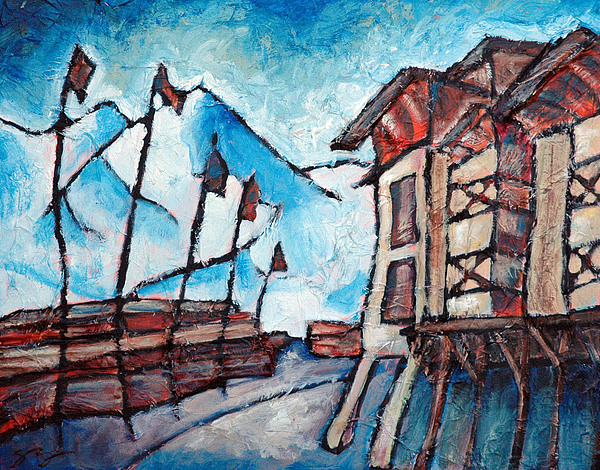 Squaw Painting - Village At Squaw Valley by Sara Zimmerman