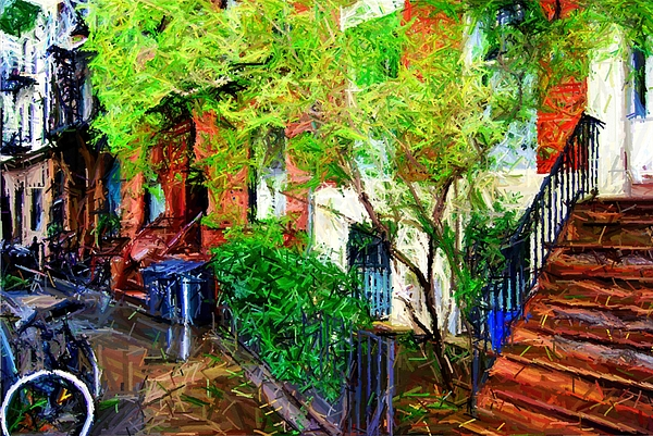 Greenwich Village Digital Art - Village Life Sketch by Randy Aveille