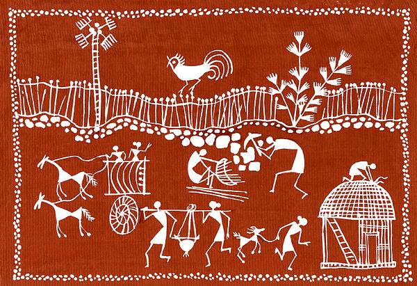Village Scene In Warli Tribal Art Painting By Jey Manokaran