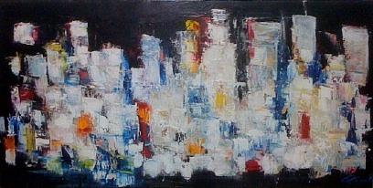 Ville De Nuit Painting by Patrice Brunet