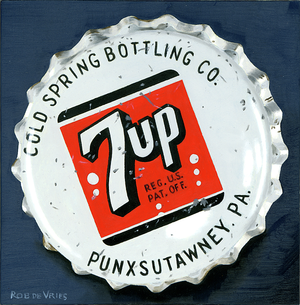 Vintage Painting - Vintag Bottle Cap, 7up by Rob De Vries