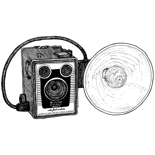 Drawing Drawing - Vintage Old Brownie Camera by Karl Addison