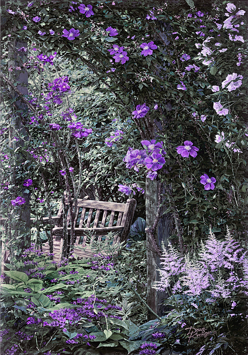 Violet Muted Garden Respite Painting by Doug Kreuger