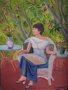 Virginia Rose Sitting Painting by Mary Hollinger