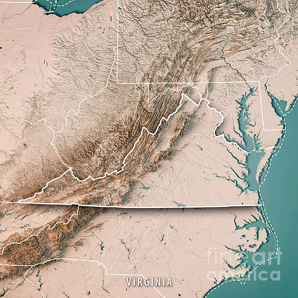 Virginia State Usa D Render Topographic Map Neutral Border - Virginia usa map