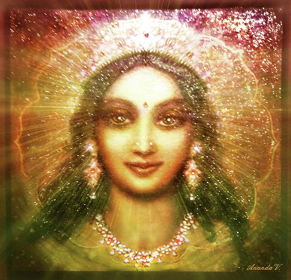 Goddess Painting Mixed Media - Vision Of The Goddess  by Ananda Vdovic